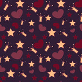 Seamless vector background with crowns, stars and hearts
