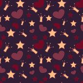 bezešvé vektorové pozadí s korun, hvězdy a srdce
