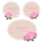 Vektor virág csipke keretek rózsaszín rózsa