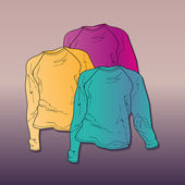 Vector illustration of womens sweaters.