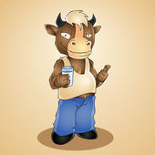 Funny cartoon bull with glass of milk. Vector illustration