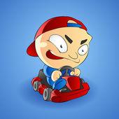 Vector illustration of a little boy go kart