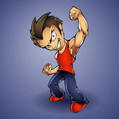Cartoon Vector Illustration of a Tough Kid with Hands in Fists