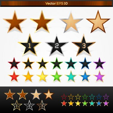 Vector set of colorful stars stock vector
