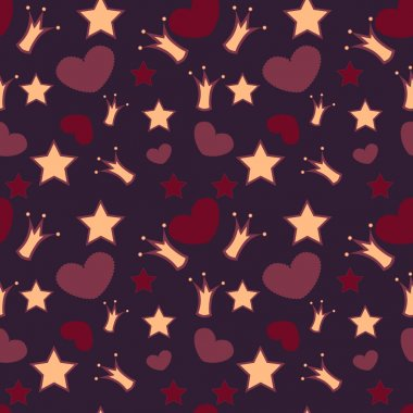 Seamless vector background with crowns, stars and hearts stock vector