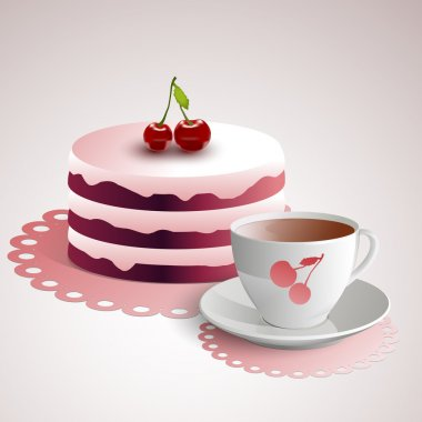 Cup of coffee with a cherry cake stock vector