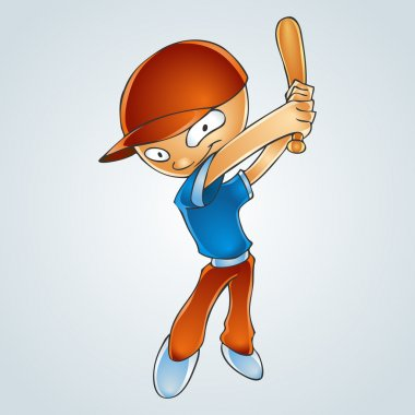 Cartoon boy playing baseball. Vector Illustration stock vector