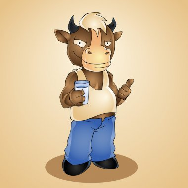 Funny cartoon bull with glass of milk. Vector illustration stock vector