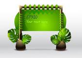grünes Schild mit Blättern. Vektorillustration