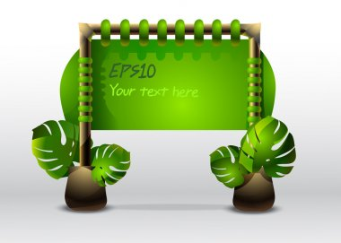Green sign with leaves. Vector illustration stock vector