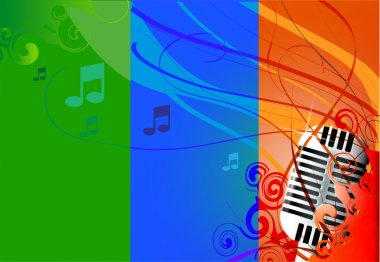 Vector Classic Microphone, multicolored background & notes. stock vector