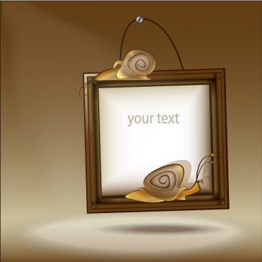 Wooden frame with snail - vector illustration stock vector
