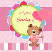 Happy birthday card with teddy bear and heart shaped balloons