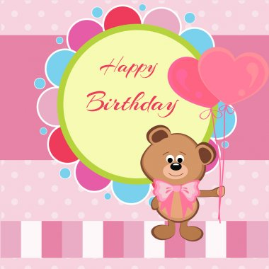 Happy birthday card with teddy bear and heart shaped balloons stock vector