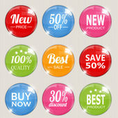 Set of colorful advertising stickers. Vector illustration