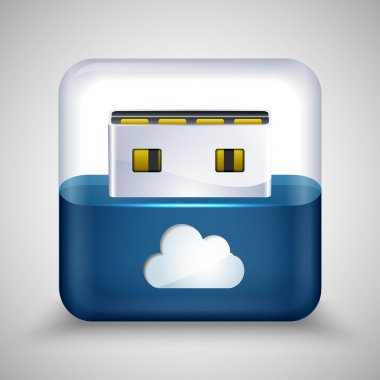 USB flash drive with cloud. Vector illustration. stock vector