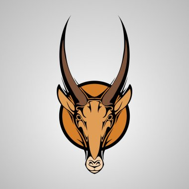 Antilope Graphic Mascot Head with Horns. Vector Illustration stock vector