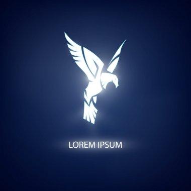 Eagle symbol on blue background for mascot or emblem design