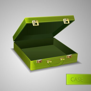 Business green briefcase, vector design stock vector