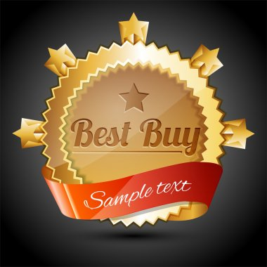 Vector golden sale badge - best buy stock vector