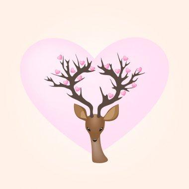 Vector Deer and Hearts stock vector