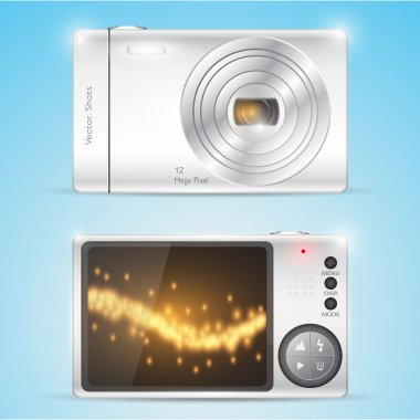 Digital compact photo camera. Vector stock vector