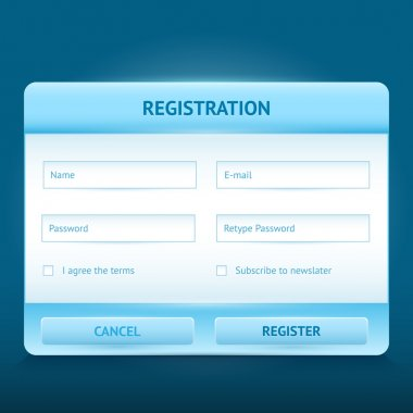 Login and register glossy web forms stock vector