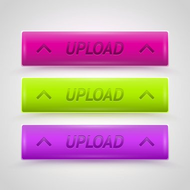 Glossy Upload Buttons, vector design stock vector