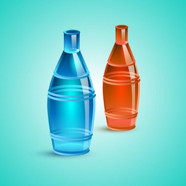 Empty red and blue bottle. Vector illustration stock vector