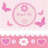 Rózsaszín keret-csipke és pillangók