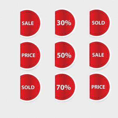 Set of red discount labels. Vector. stock vector