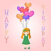 vektorové ilustrace dívka drží narozeniny balónky