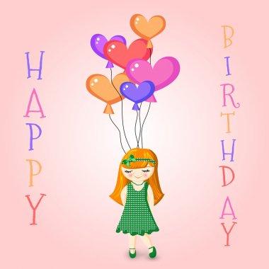 Vector illustration of a Girl Holding Birthday Balloons stock vector