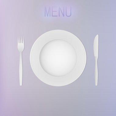 Empty dinner plate, knife and fork set stock vector