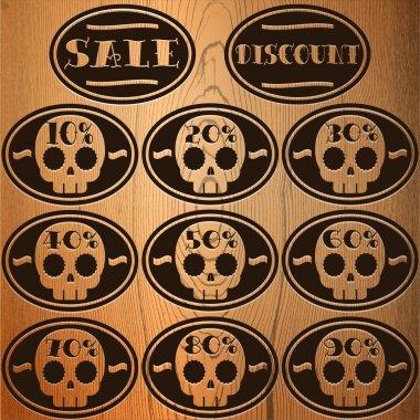 Set of vector sale skull stickers stock vector