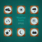 vektorové ikony počasí na zeleném pozadí