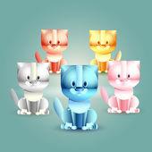 Öt vicces macskák. Vektoros illusztráció