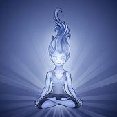 Jóga lány a kék háttér vektor illusztráció
