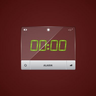 Digital alarm clock. Vector