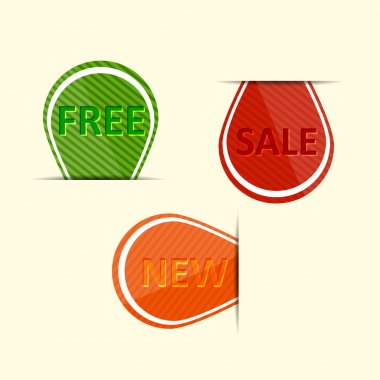 Set of labels - sale, new, free stock vector
