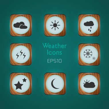 Vector Weather icons on green background stock vector