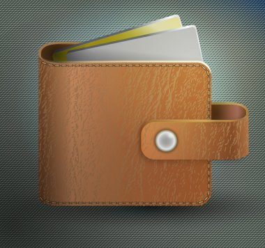 Leather wallet.  vector illustration stock vector