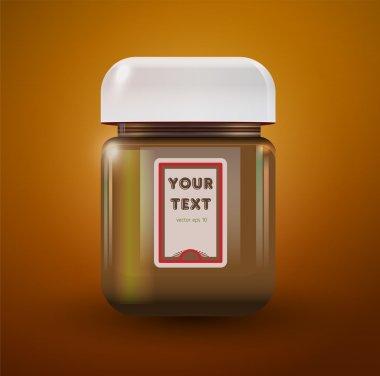 Illustration of a jar of peanut butter stock vector