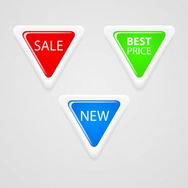 Triangle buttons for sale. stock vector