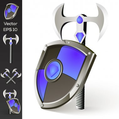 Axe and shield collection stock vector