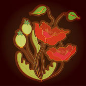 Vector background with poppies.