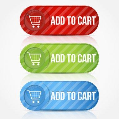 Vector shopping cart item - buy buttons stock vector