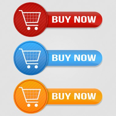 Vector shopping cart item - buy buttons stock vector