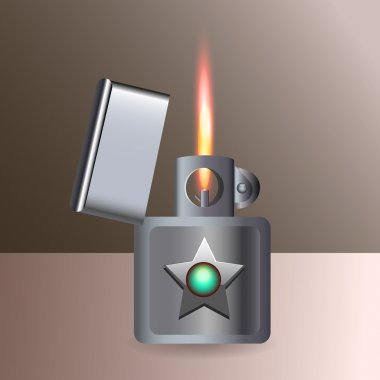 Burning cigarette lighter. Vector. stock vector