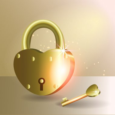 Heart and love - golden lock and a key stock vector